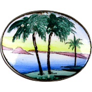 Sterling Silver Hand-Painted Porcelain Pin Palm Trees Lake Coconuts