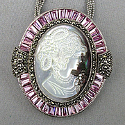 Large Lavish Cameo Pin Pendant Carved MOP - Sterling Silver - Marcasite - Crystal Necklace