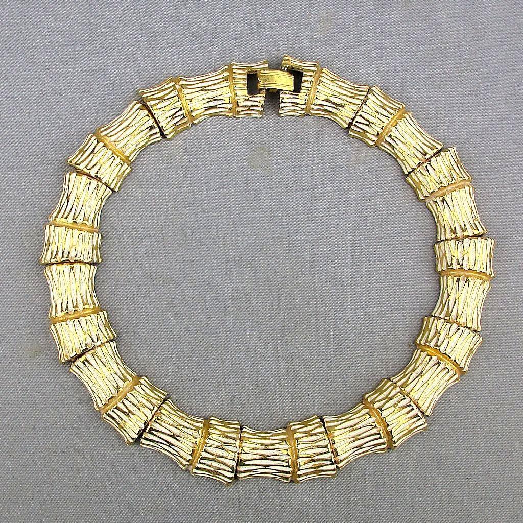 1970s Diane von Fürstenberg Bold Bamboo Collar Necklace Enamel on Goldtone