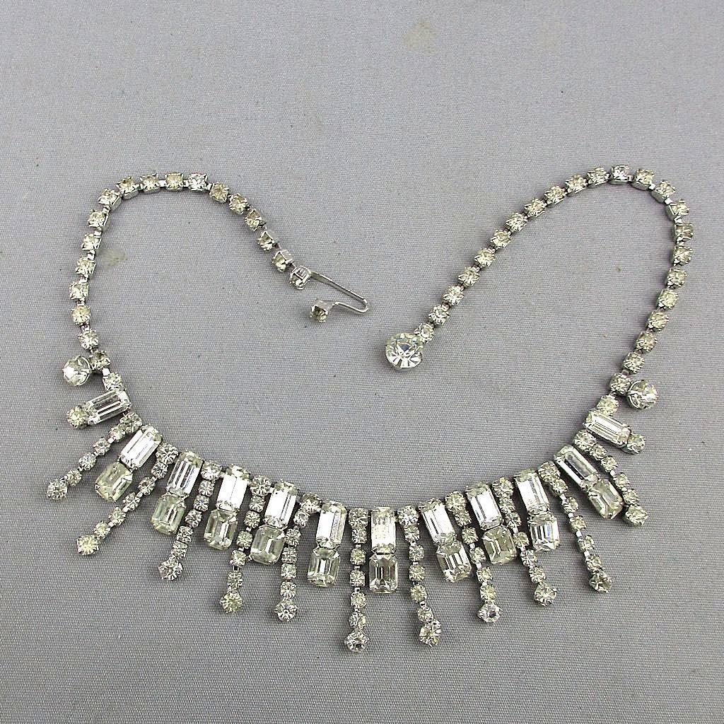 Vintage KRAMER Icy Clear Rhinestone Necklace Major Sparkler