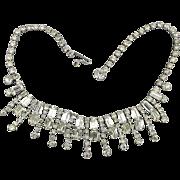 Vintage KRAMER Icy Clear Rhinestone Necklace Major Sparkler