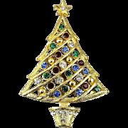 Vintage Rhinestone Christmas Tree Pin Brooch - Colorful