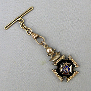 Victorian Knights of Columbus Pendant Watch Fob Charm Enamel Gilt Skull
