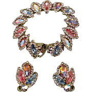 Gorgeous Vintage Glitzy Set - Bracelet & Earrings - Pastel AB Crystal Rhinestones