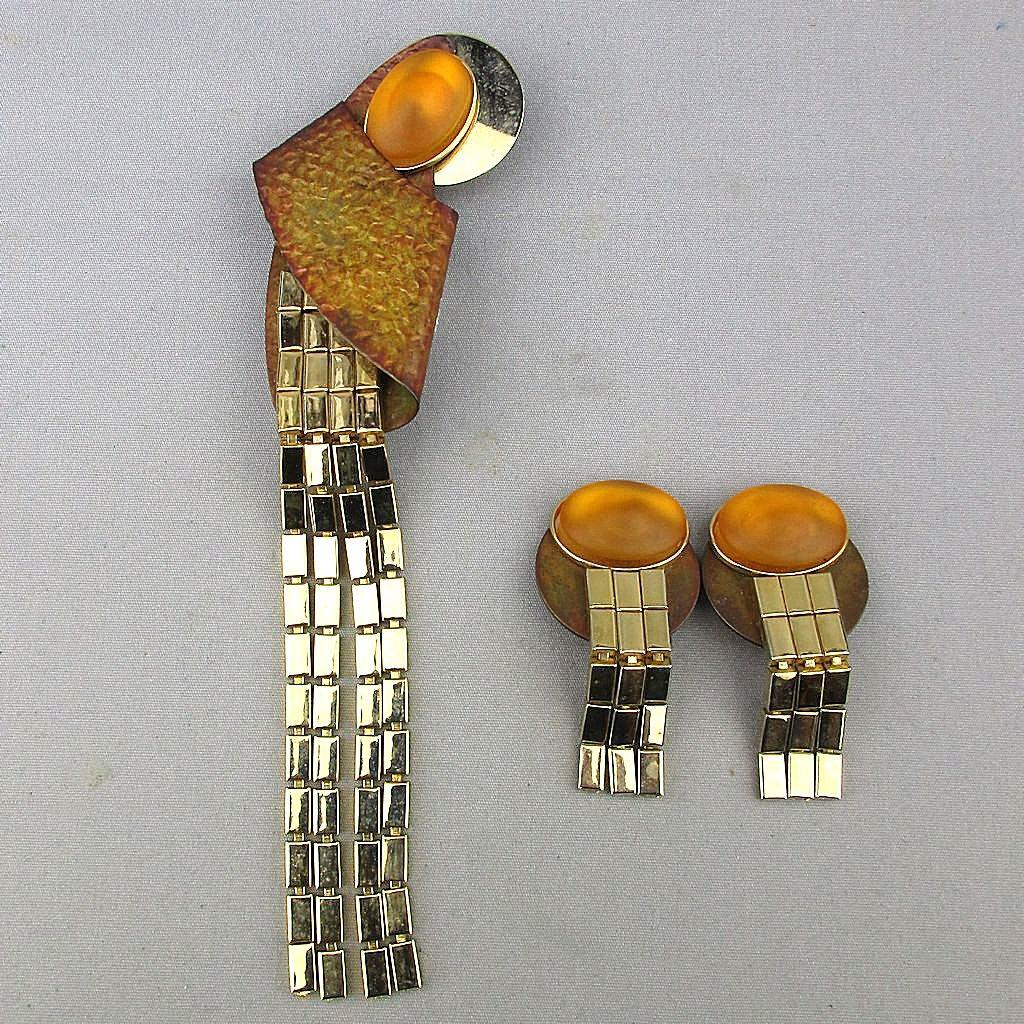 Modernist KIEN Long Jeweled Pin w/ Clip Earrings Very Unique Set