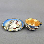 Wee Miniature Moriage Dragonware NIKONIKO China Tea Cup / Saucer