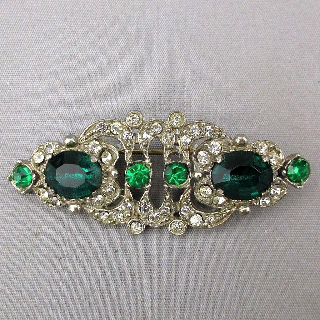 Art Deco 1930s PAUL SARGENT Faux Diamond - Emerald Pin Brooch