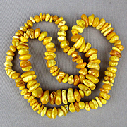 Old Baltic Egg Yolk Amber Bead Necklace Long 36 inches Chunky 115 Grams