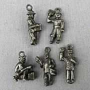 Old 1920s Metal Figural Charms - Police Organ Grinder Newsboy Shoe Shine Mailman