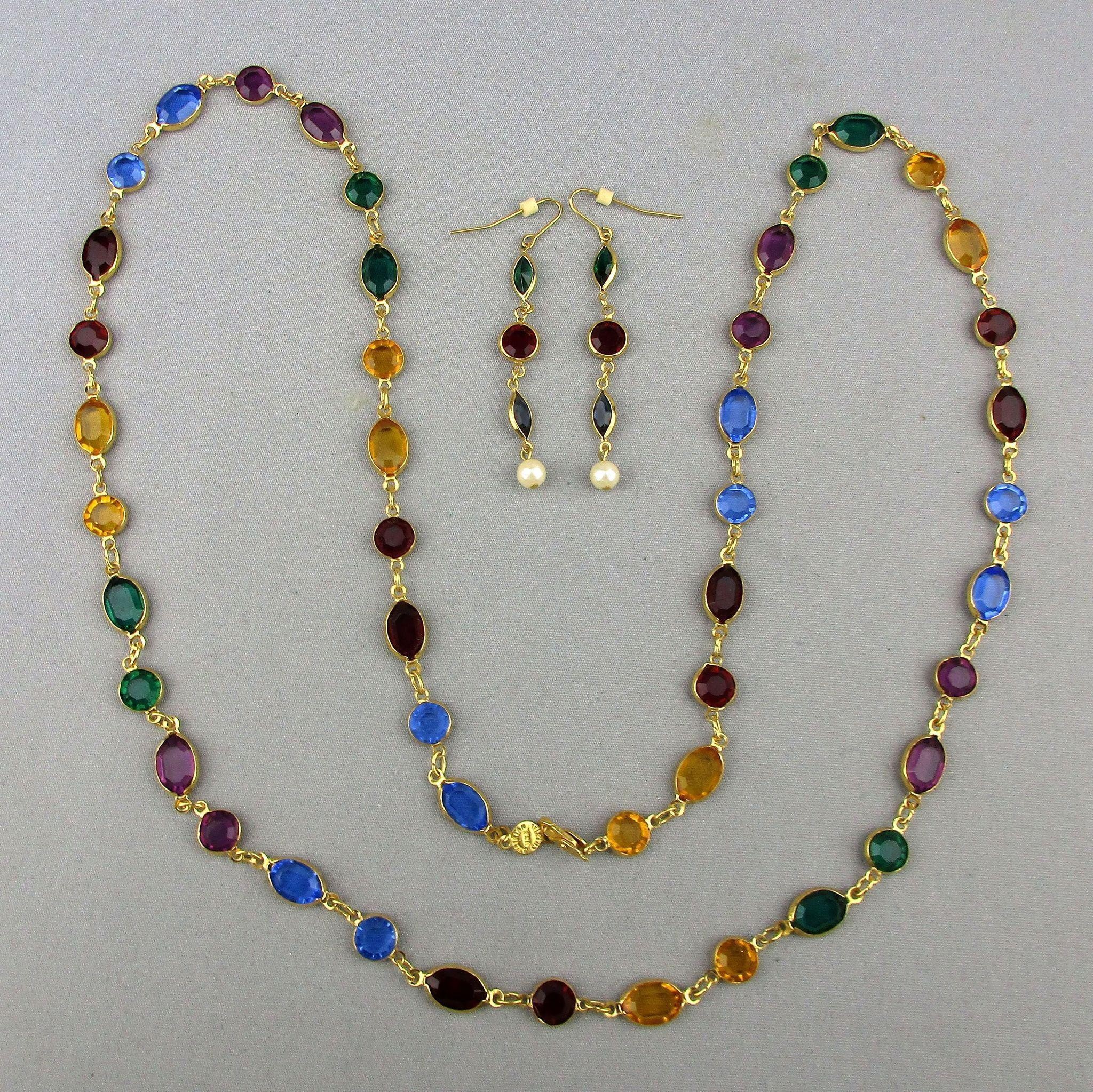 Long Austrian Crystal Chain Necklace & Earrings Set - Primary Colors