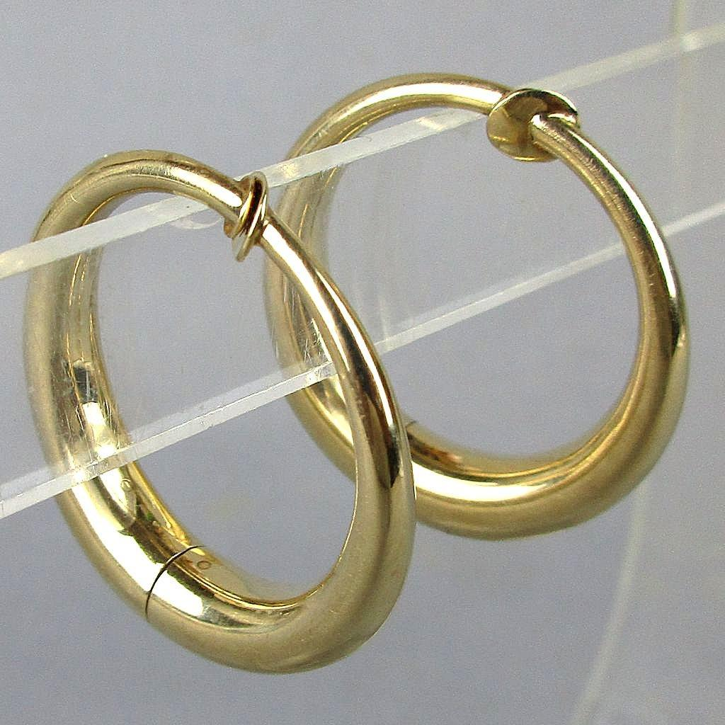 Modernist 14K Yellow Gold Hoop Earrings w/ a Twist