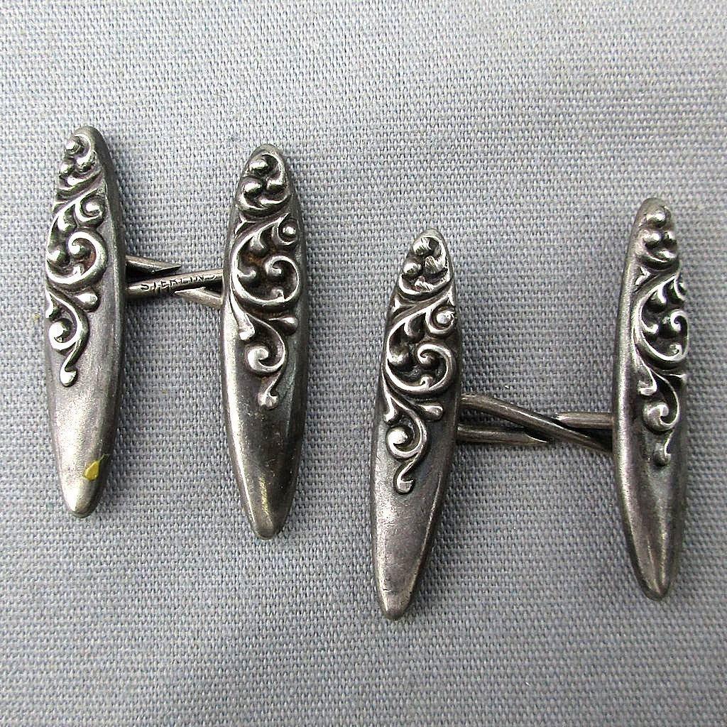 Victorian Sterling Silver Embossed Bar Cufflinks