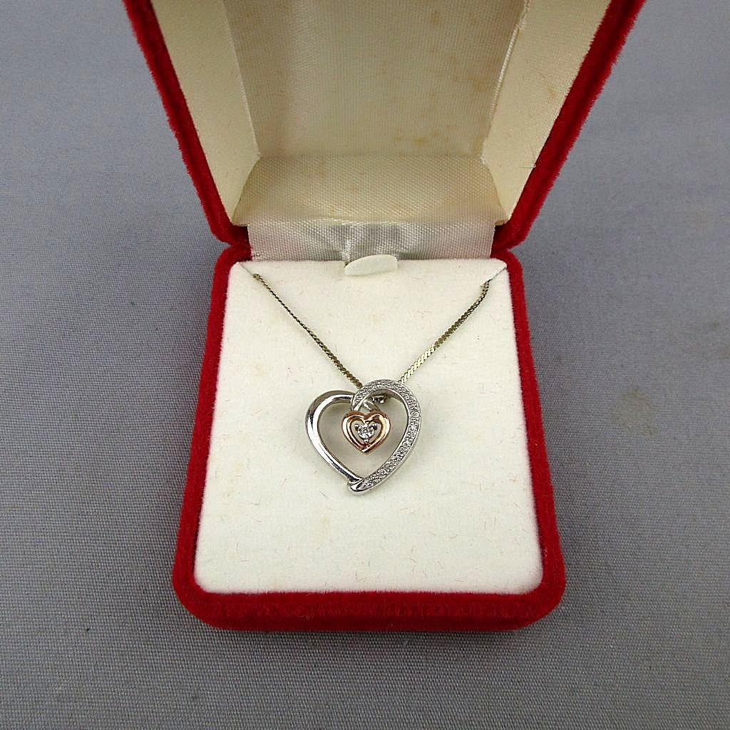 Sterling Silver - 10K Gold - Diamond Heart-in-Heart Pendant Necklace
