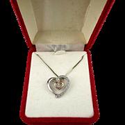 Sterling Silver - 10K Gold - Diamond Heart-in-Heart Pendant Necklace