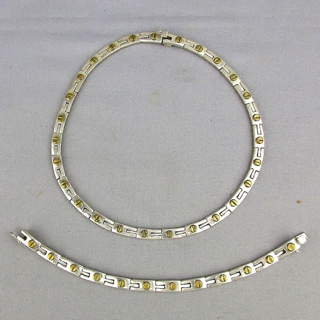 Modernist Taxco Sterling Silver Necklace - Bracelet Set - Screw Motif