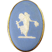 Vintage Gold-Filled Van Dell Wedgwood Jasperware Pin Brooch Pendant - Fairy Lady