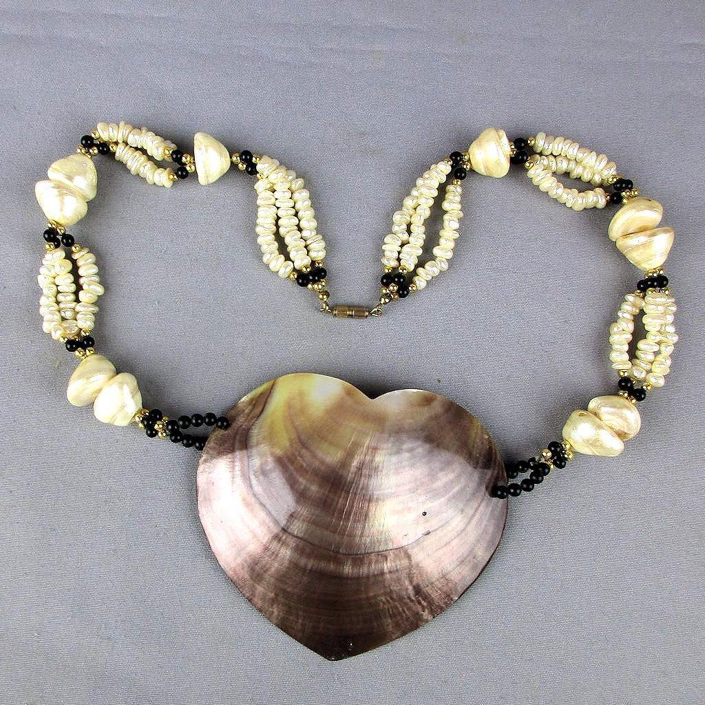 Huge Mother-of-Pearl Shell HEART Necklace Genuine Pearls