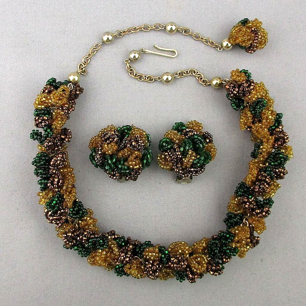 Unique 1940s Beaded Glass Necklace - Earrings Set - Seed Beads