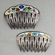 Pair of Old Sterling Silver Enamel Hair Combs Haircomb