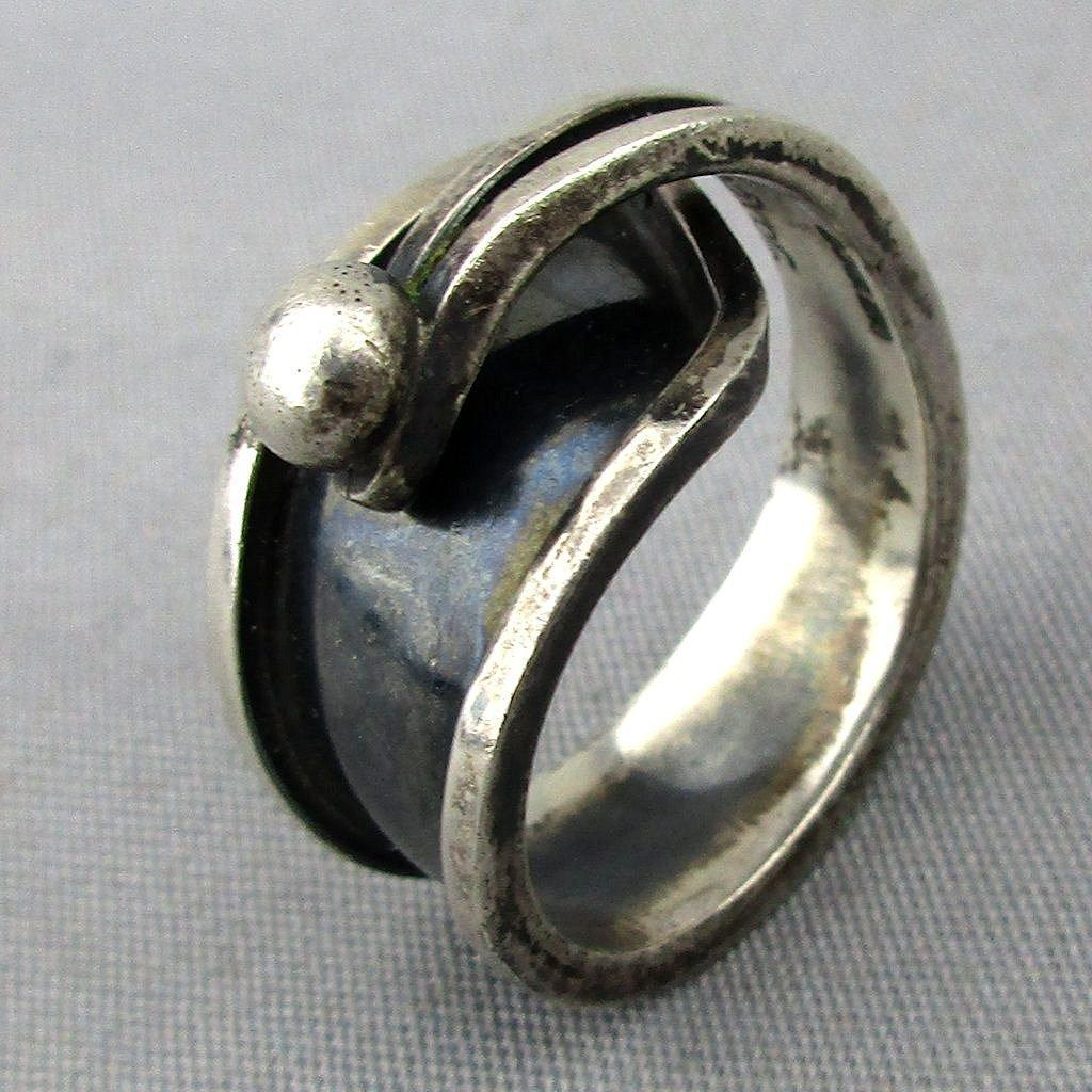 vintage signed taxco sterling silver modernist bypass ring