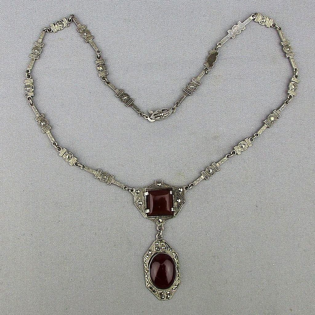 Art Deco Sterling Silver Marcasite Necklace w/ Carnelian