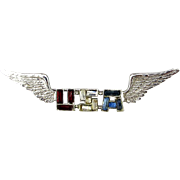 WWII 1940s Sterling Silver Rhinestone U.S.A. Wings Pin - Sweetheart Jewelry