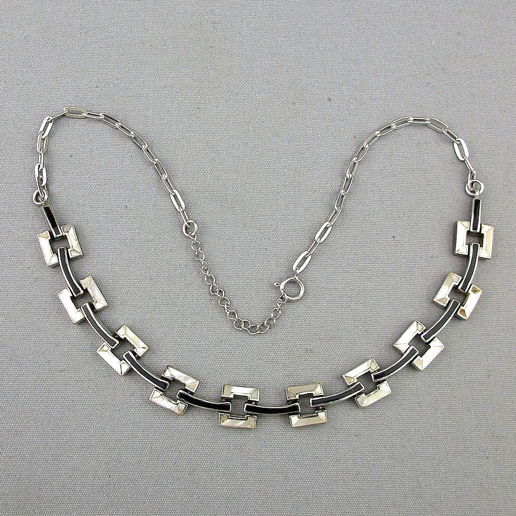 Vintage Sterling Silver Necklace w/ MOP & Enamel Links
