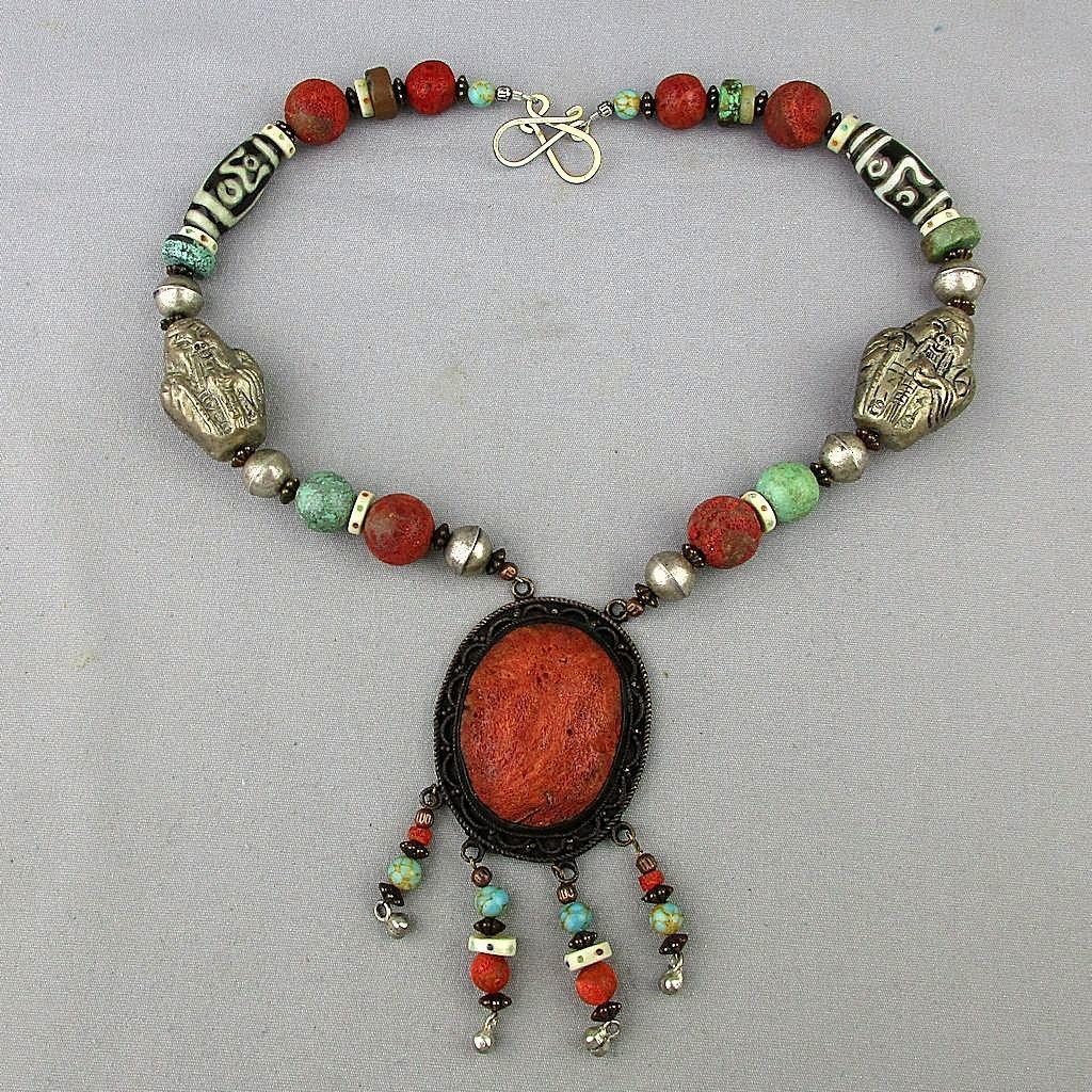 Antique Chinese Necklace 800 Silver Sponge Coral Turquoise Beads Men