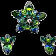 Vintage Juliana Rhinestone Star Pin Brooch Earrings Set Blue / Green