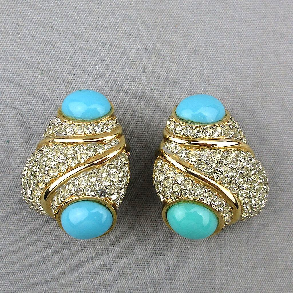 Wowsa CINER Faux Diamonds / Turquoise Earrings