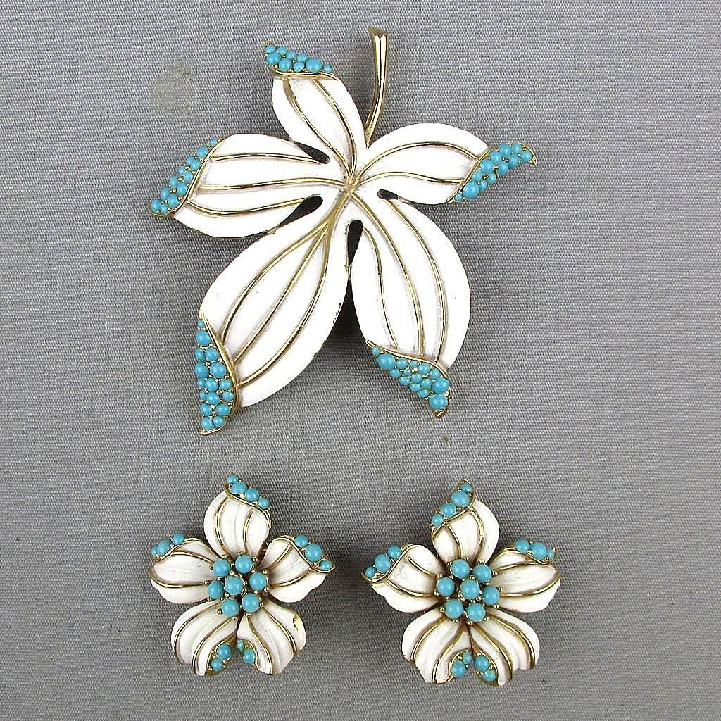 Vintage Crown Trifari Pin - Earrings Set Enamel w/ Turquoise Stones