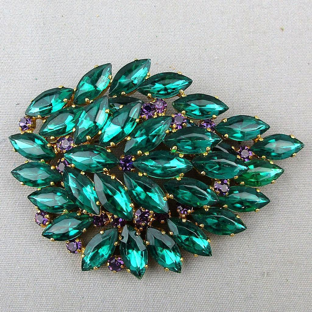 Big Rare Jutta Reissig Hamburg Faux Emerald Pin Brooch