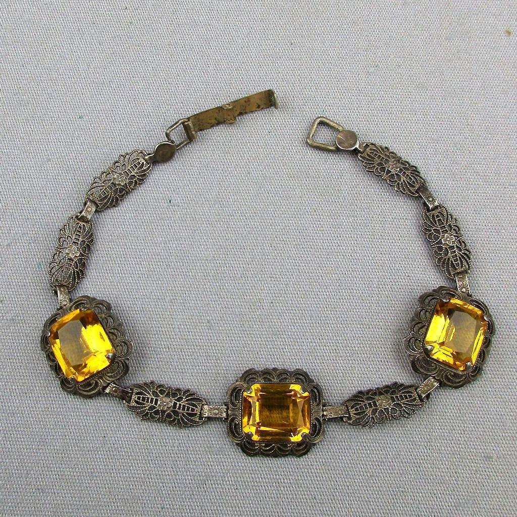 Art Deco REINAD Jeweled Filigree Bracelet