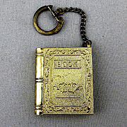 Vintage Miniature Book Fold-Out Cigarette Lighter Key Chain Fob Japan 1950s