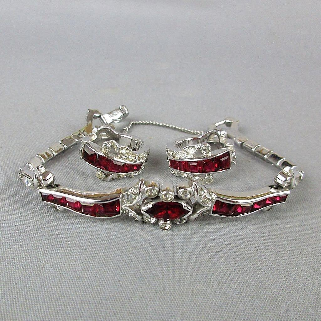 Jomaz MAZER Invisible Set Rhinestone Bracelet w/ Matching Earrings