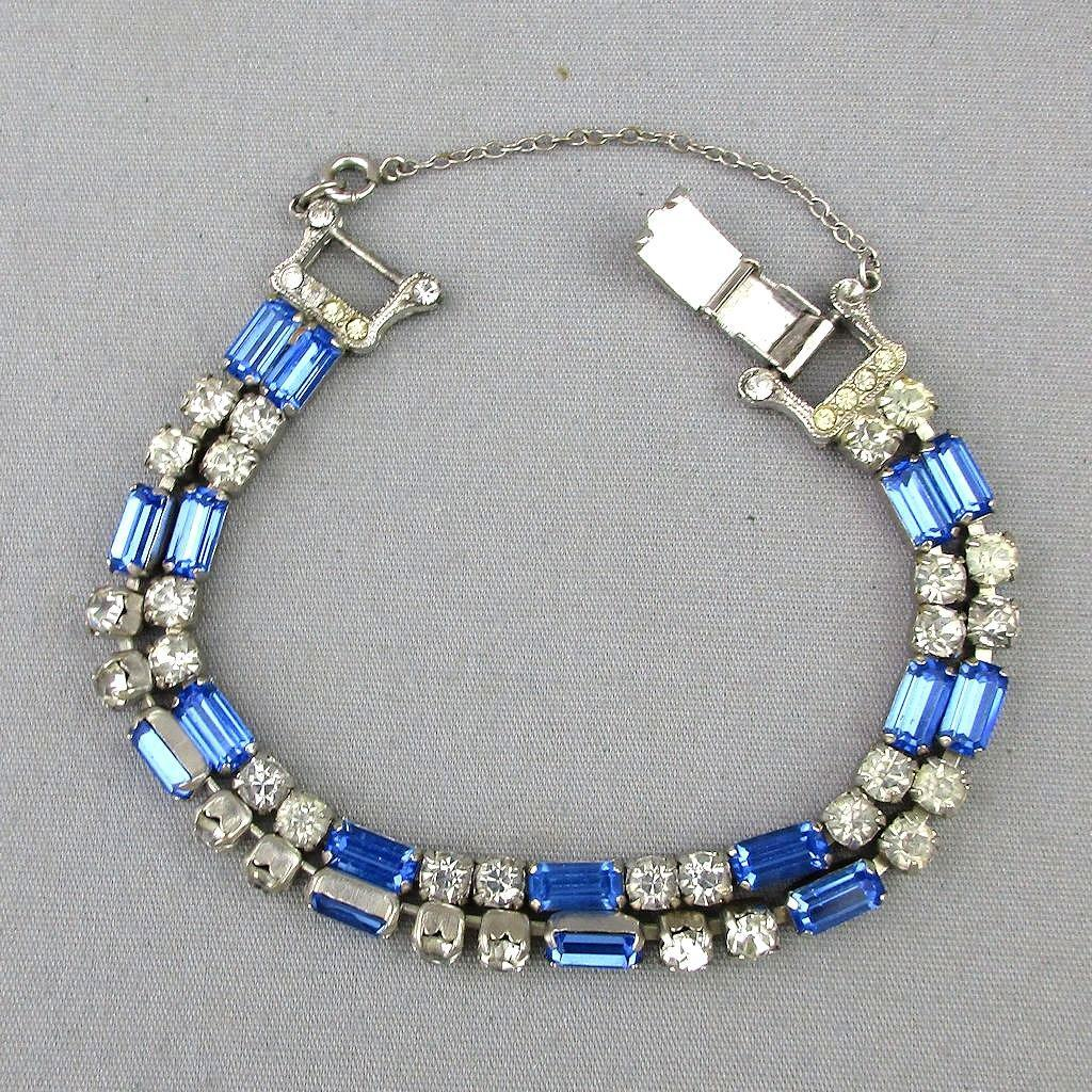 Vintage WEISS Rhinestone Bracelet 2-Row Blue / White Crystals