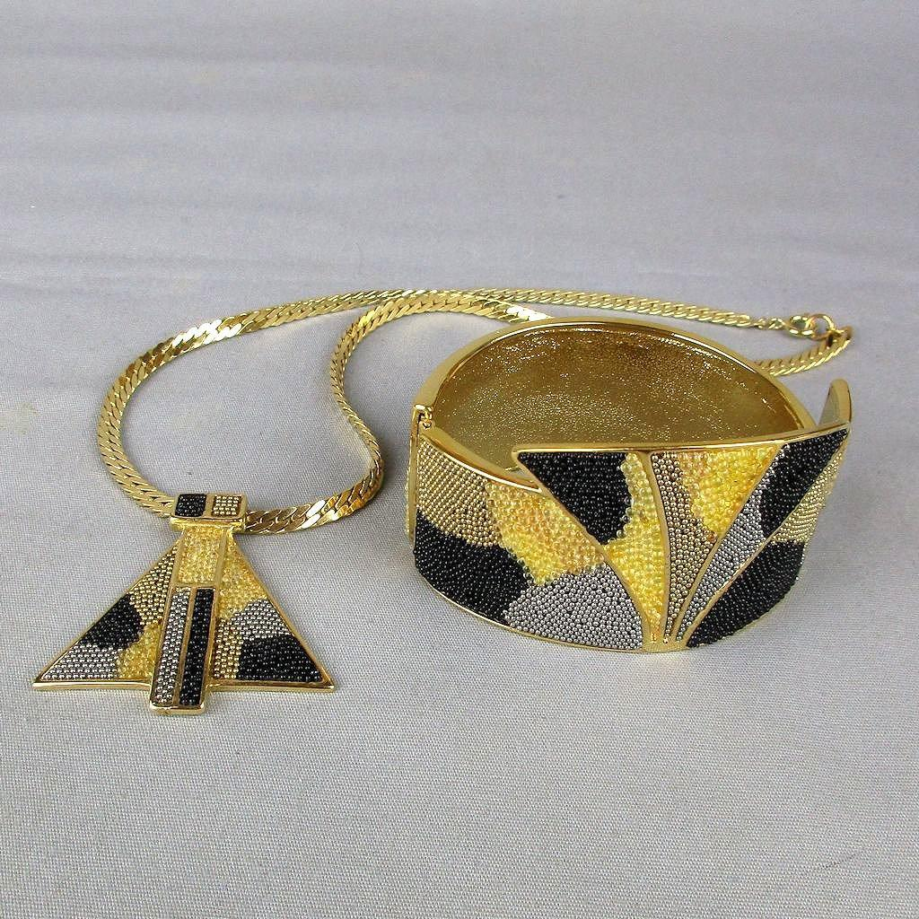Modernist 1970s Signed Designer Set Necklace - Bracelet One-of-a-Kind
