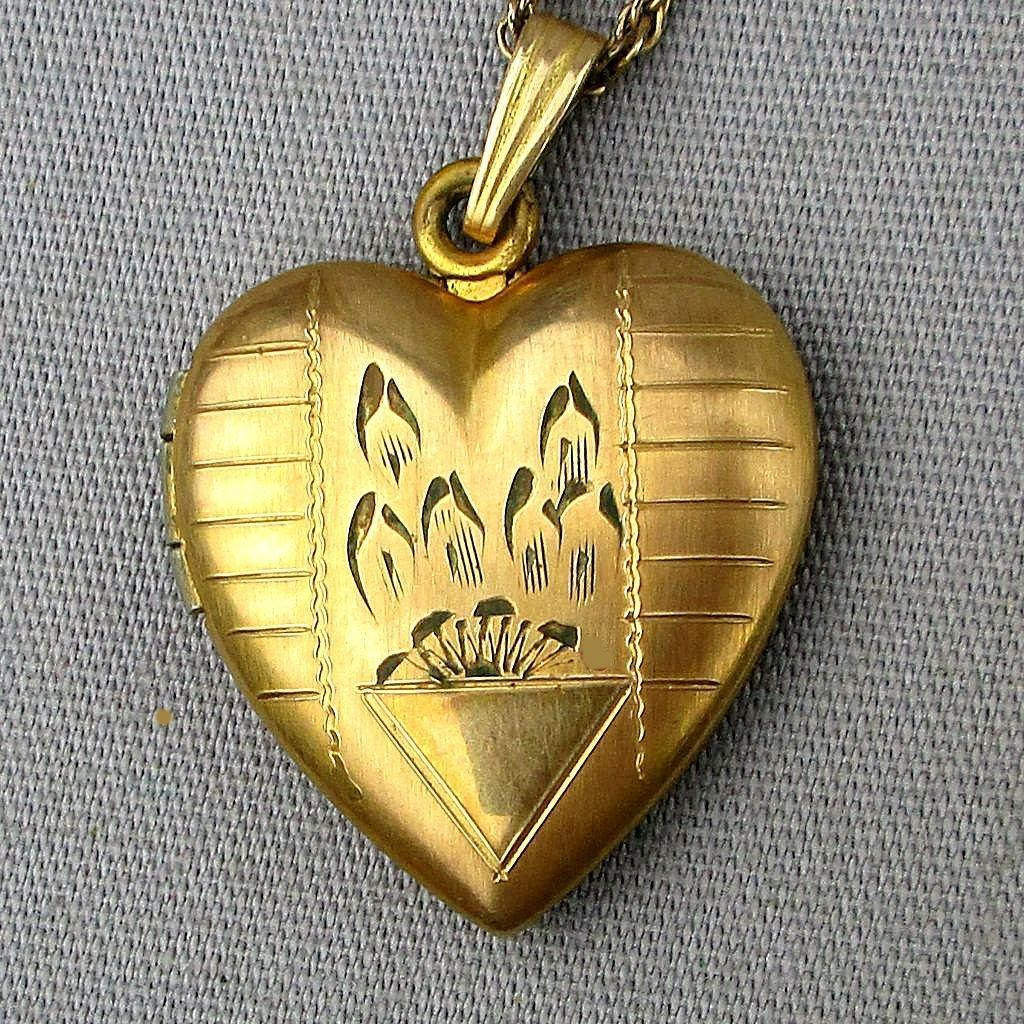 Old Gold-Filled Etched Heart Locket Necklace