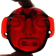 Vintage Carved Red Amber Head Face Amulet 93 Grams