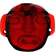 Vintage Carved Red Amber Head Face Amulet 93 Grams