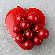 Big Red Bakelite Heart Pin w/ Cherry Bead Dangles Classic Oldie