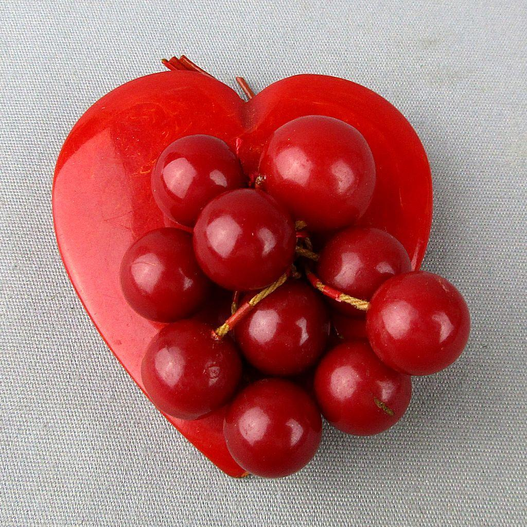 Big Red Bakelite Heart Pin w/ Cherry Bead Dangles Classic Oldie