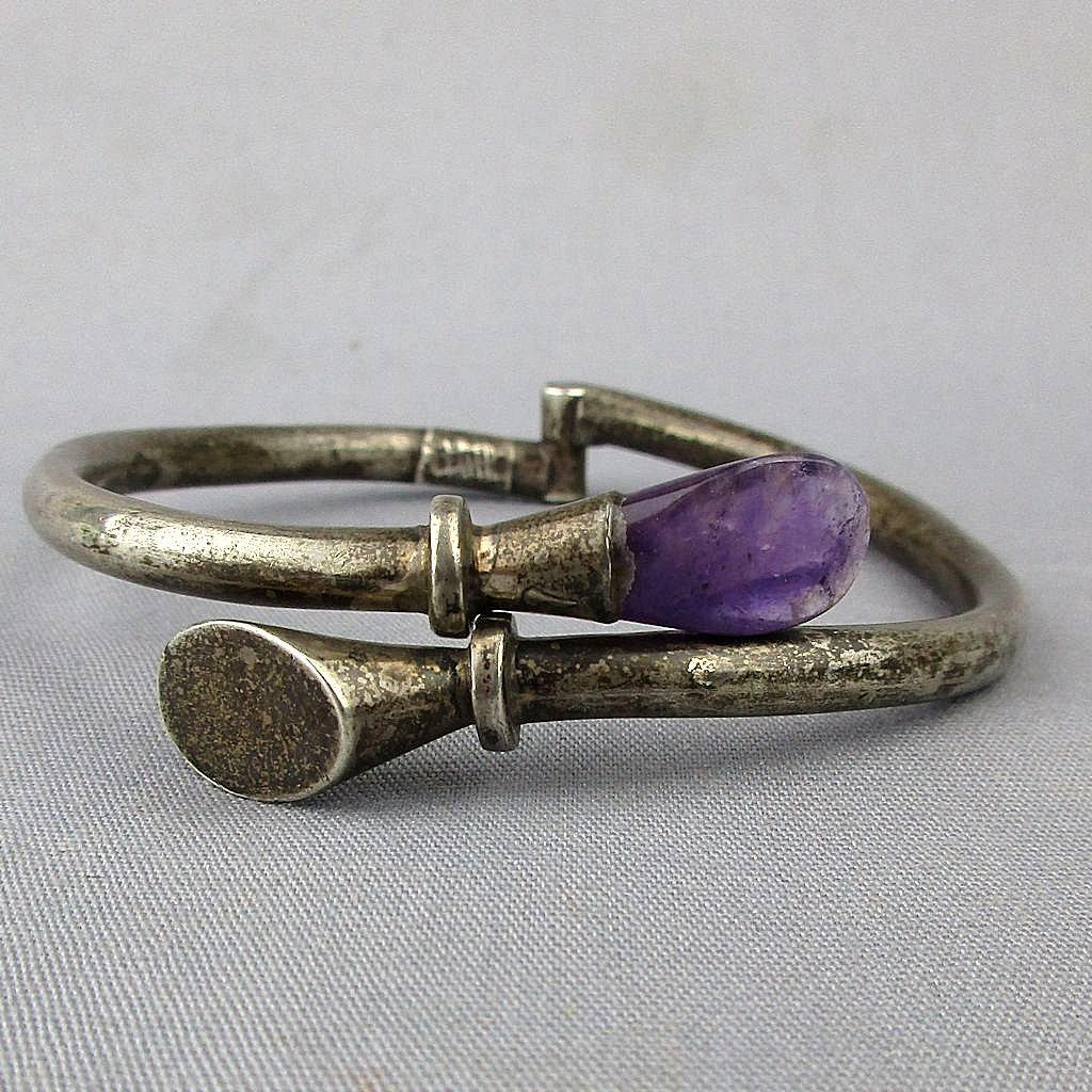 Vintage Sterling Silver Mexican Crossover Bracelet w/ Amethyst