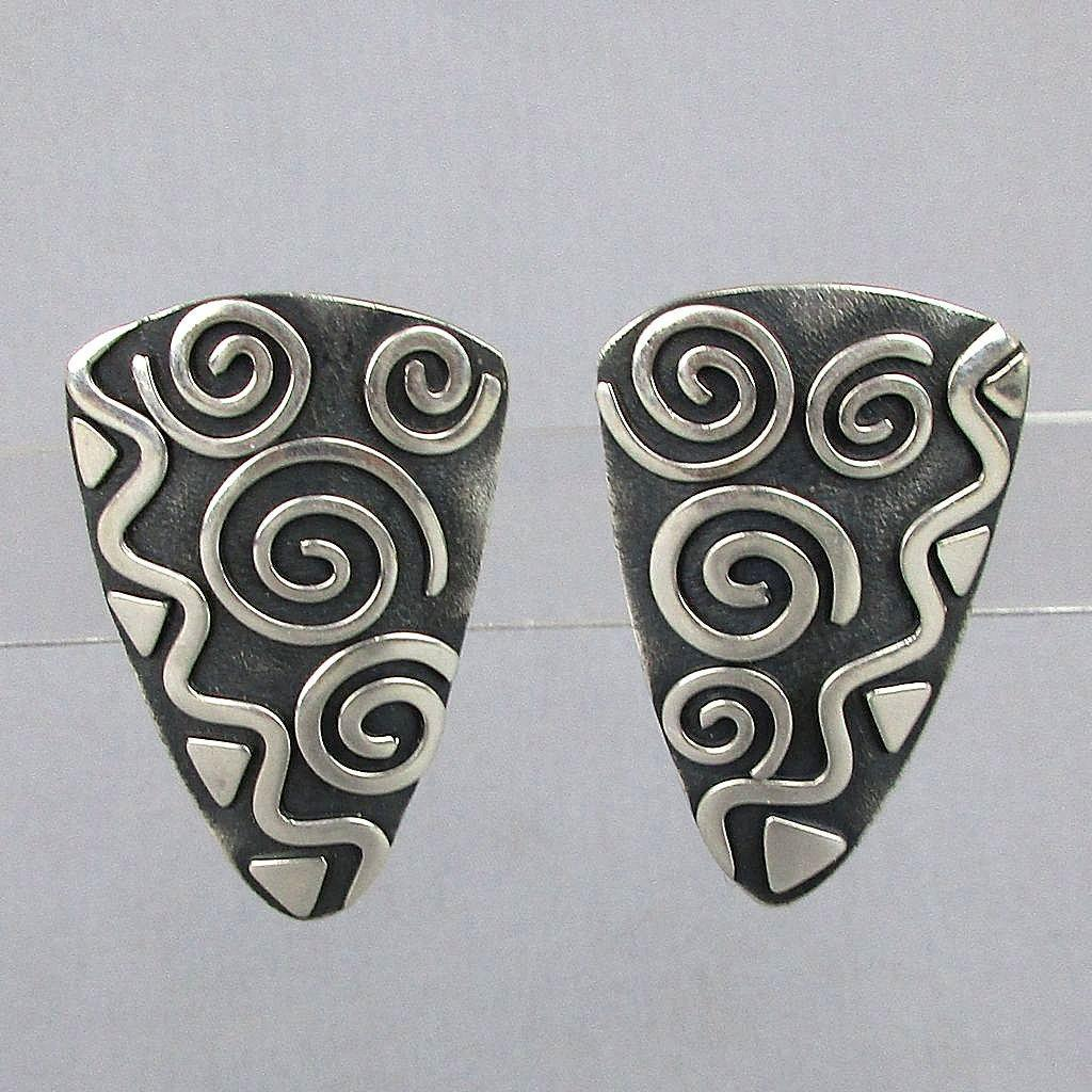 Modernist Sterling Silver Overlay Earrings Abstract Forella