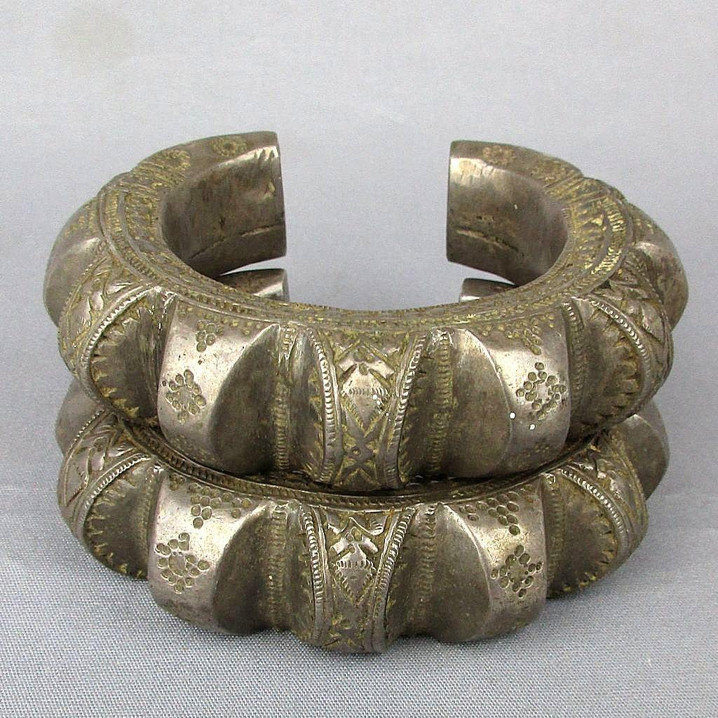 Pair Sterling Silver Balochi Ethnic Tribal Cuff Bracelets 1950s - 175 Grams