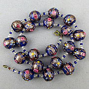 Vintage Venetian Glass Wedding Cake Bead Necklace