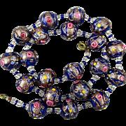 Vintage Venetian Glass Wedding Cake Bead Necklace