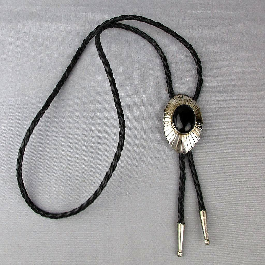 Vintage Jezlaine 925 Sterling Silver Leather Bolo Necklace Tie