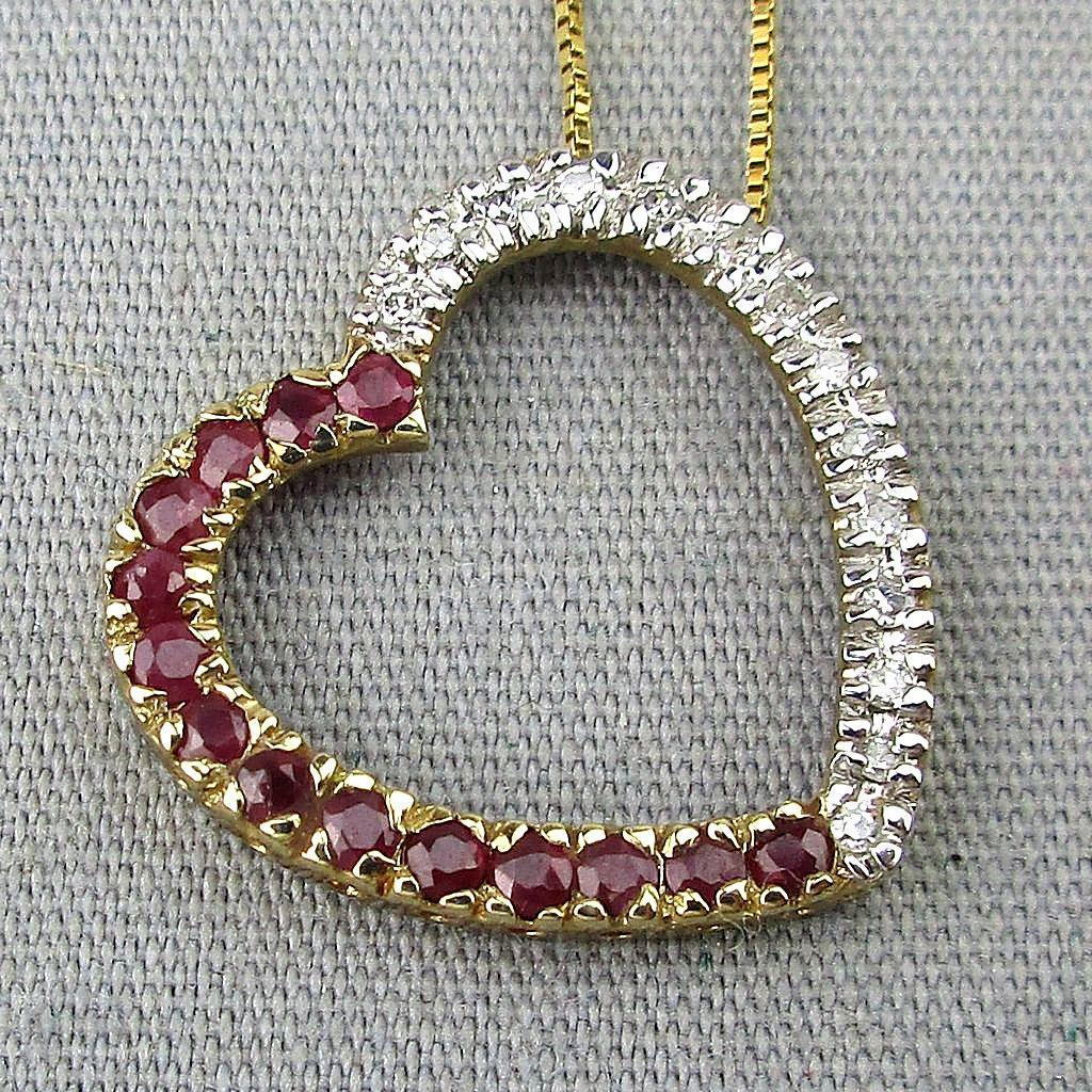 Vintage 10K Gold Heart Pendant Necklace w/ Diamonds - Rubies