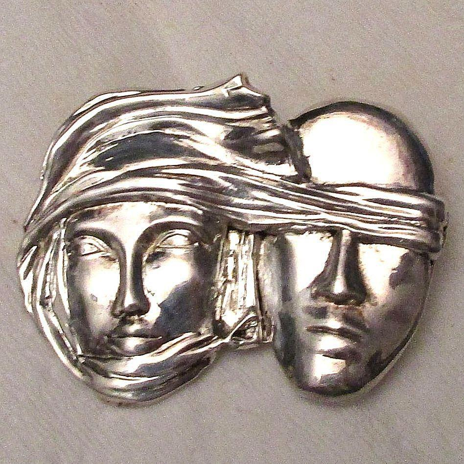 Modernist Sidney Carron Paris Figural Faces Pin Brooch